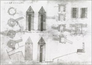 Stür den Kerl ja Neitsitorn (paremal) Tallinna Insenerikomando 1728. aastal tehtud ülesmõõtmisjoonisel. Allikas: R. Zobel, Tallinn (Reval): Keskaegsed kindlustused. Tallinn, 2011.
