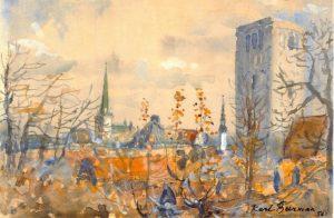 Karl Burman seeniori akvarell koduõuelt.